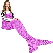 Ecrazybaby888 Hecho a Mano de Punto Manta de Cola de Sirena Todas Las Estaciones cálido sofá Cama Sala de Estar Manta para Adultos, Classic Patrón, Rosa Oscuro, 180 x 90cm