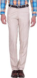 American-Elm Men's Beige Cotton Blend Formal Trouser