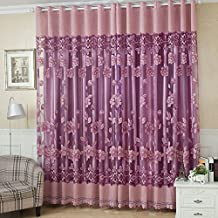 2Pcs 100*250cm Elegant Luxury High-end Floral Pattern Window Curtains with Beads Door Voile Curtain Window Drape Divider R...
