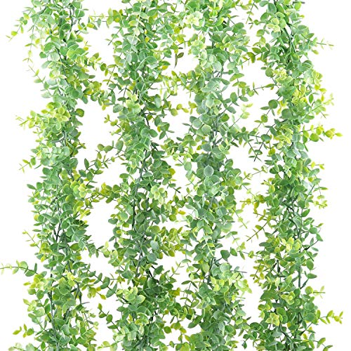 Naidiler 24Ft 4Pcs Faux Eucalyptus Garland Greenery, Artificial Eucalyptus Leaves Vines, Hanging Fake Plants for Wedding Backdrop Arch Centerpiece Wall Table Party Decoration (B-Gray Green)