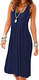 Women Casual Dress Swing Sleeveless Sexy Simple Round Neck T-Shirt Loose Dresses