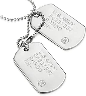 Classic Two-Pieces Mens Military Army Dog Tag Pendant Necklace with 28 inches Ball Chain