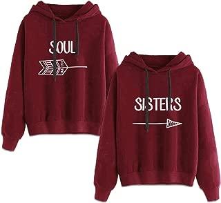 Best Friends Sweatshirts for 2 Girls Hoodies BFF Jumper Red Sister Gift 2 Pcs
