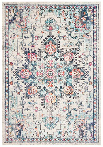 Safavieh Madison Collection MAD473B Boho Chic Medallion Distressed Non-Shedding Stain Resistant Living Room Bedroom Accent Rug, 2'2' x 4', Cream / Blue