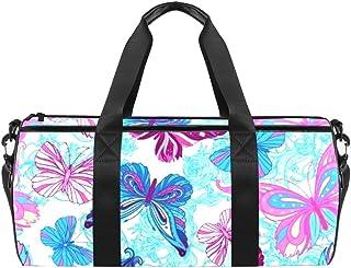 DJROWW Schulter-Tragetasche mit Schmetterlingen in Blau und Pink aus Segeltuch, Reisetasche für Fitnessstudio, Sport, Tanz, Reisen, Wochenender