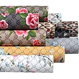 Funcolor 10Pcs/Set 8x12 Inch A4 Sheet Pattern Printed Classic Retro Rose Flower Floral Faux Leather Fabric Synthetic Leather Sheet Assorted Faux leather Sheets Bundle for Making Earrings, Bows, Jewelry, Wallet, and DIY Sewing Craft