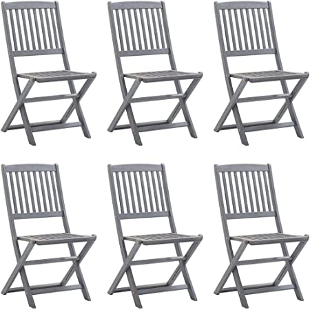 vidaXL 6X Solid Acacia Wood Folding Outdoor Chairs Garden Seating Furniture Foldable Wooden Patio Side Seat Kitchen Dining Room Dinner Chair