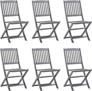 vidaXL 6X Solid Acacia Wood Folding Outdoor Chairs Garden Seating Furniture Foldable Wooden Patio Side Seat Kitchen Dining...