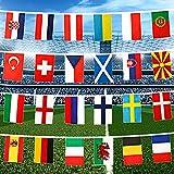 Euro 2021 Bunting, 24 Equipos Participantes del Campeonato de Europa de Fútbol Bandera, banderines de tela Eurovisión para decoración de fiesta para jardín, bar, restaurante y hogar, 20 x 30 cm