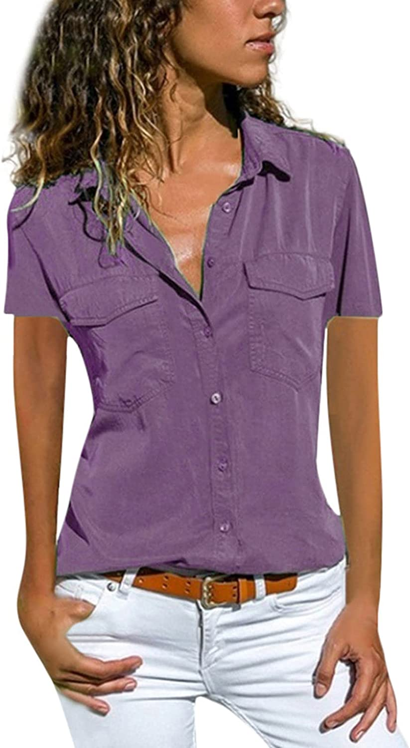 Button Down Blouses for Women,Women's V Neck Shirts Shorts Sleeve Blouse Roll Up Cuffed Sleeve Work Plain Tops J