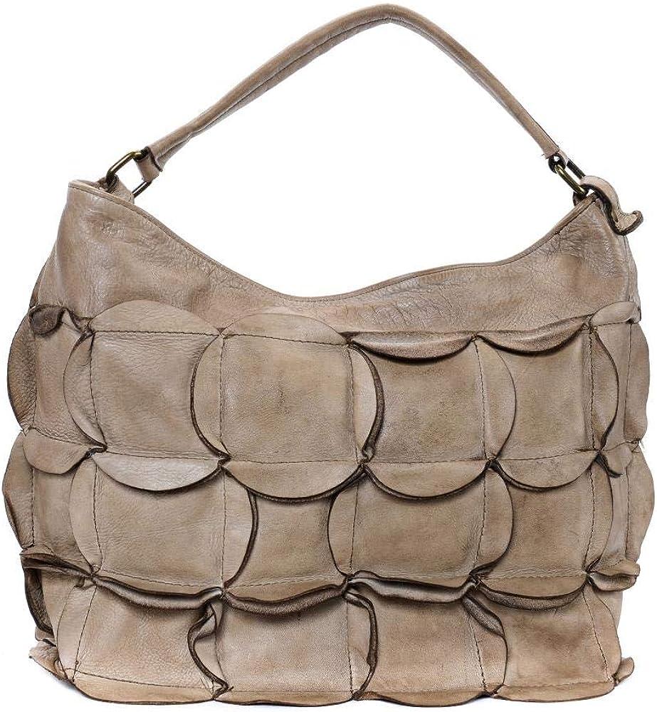 OH MY BAG Sac à main Cuir porté main bandoulière et de travers Femmes en véritable cuir fabriqué en Italie - modèle MISS IRIS Taupe Foncé