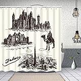 YANAIX Cortina Ducha Impermeable,Dubai Set Dibujado a Mano ilustración,Impresión de Cortinas baño con 12 Ganchos 150x180cm