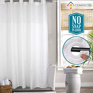 Comfecto Hookless Shower Curtain, No Snap in Liner, 77x70 Inches Hotel Bathroom Curtains with Light Filtering Mesh Screen and Magnets, White