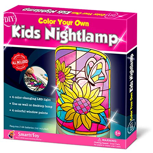 Kids NightLamp DIY Kit- Creative Arts and Crafts for Girls and Boys Ages 5 Years and up- Stained Glass lamp with Window Paint and Circuit - Best Gift Art Kits