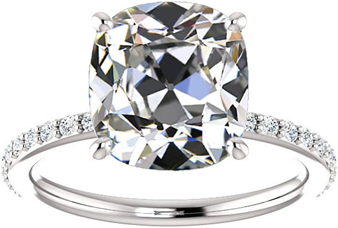 Ranking integrated 1st place Gemonite 2.80 CT Antique Colorless Moissanite Engagement Cushion Large-scale sale