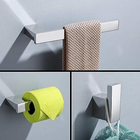 Set di accessori da bagnoin acciaio inossidabile 4 pezzi portasalviette da bagno anello porta asciugamani porta rotolo di carta igienica gancio per accappatoio Montaggio a parete Lucidata