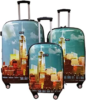 Kemyer, Hard Shell Wheeled Spinner, 3 Piece, Luggage Set (One Size, Freedom Tower)