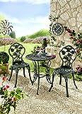 ABC Home Gartenmöbel Dornröschen 3tlg grün Alluminium-Guss Gartenstuhl Gartentisch DS