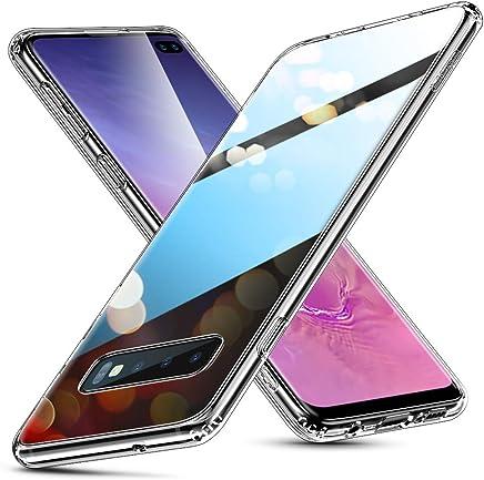 ESR Coque pour Samsung Galaxy S10 Plus Silicone, Protection Transparente avec Revêtement Arrière en Verre Trempé, Bords Couvrants en Silicone TPU Souple pour Samsung Galaxy S10+ (Transparent)