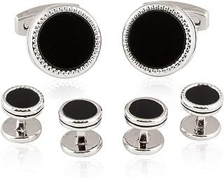 Cuff-Daddy Tuxedo Cufflinks Studs Formal Set Black Onyx Silver with Presentation Box
