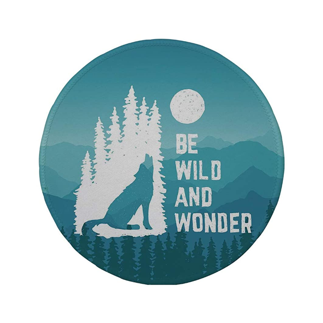 Non-Slip Rubber Round Mouse Pad,Adventure,Hand Drawn Be Wild and Wonder Quote Howling Wolf in The Woods Under Moon,Night Blue White,11.8