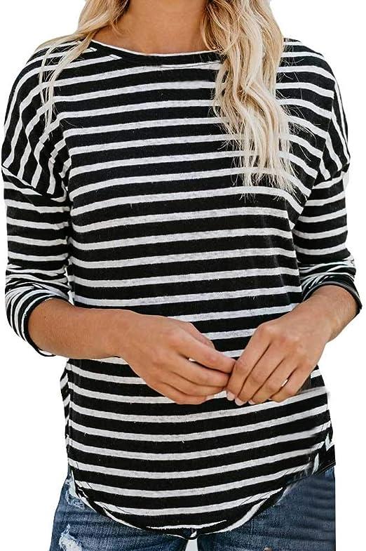 Camisetas De Rayas Negras Y Blancas Mujer Ronamick Casual ...