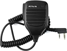 Retevis Shoulder Speaker Mic 2 Pin Two Way Radio Micphone for Baofeng UV-5R UV-82 888S Retevis H-777 RT21 RT22 RT27 Arcshell AR-5 2 Way Radio(1 Pack)