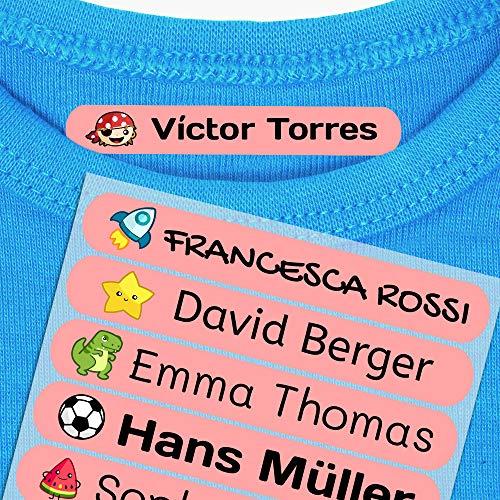 Haberdashery Online 50 Etichette termoadesive Personalizzate, di 6 x 1 cm, per contrassegnare i Vestiti. Colore Rosa Rosa Basic (per Il Ferro)