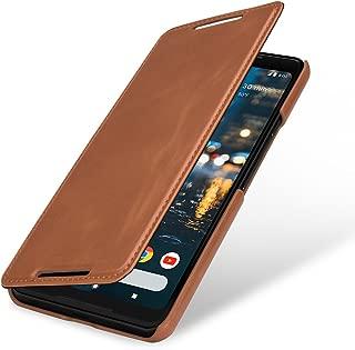 StilGut Google Pixel 2 XL Case, Book Type Cover Made of Leather, Cognac Brown