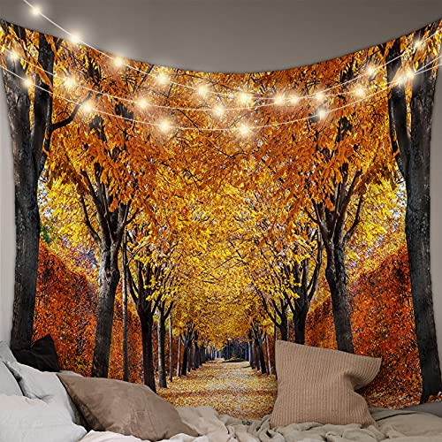 Advancey Wall Hanging Bedding Tapestry Thanksgiving Romantic Autumn Golden Fallen Leaves Dreamy Forest Road Tapestry Wall Decor Blanket Bedspread Picnic Sheet Room Dorm Home Decor-