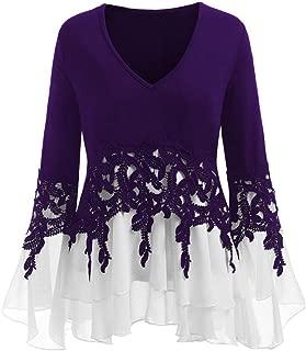 Womens Long Sleeve Plus Size Casual Applique Flowy Chiffon V-Neck Blouse Tops