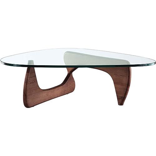 Amazon Com Noguchi Style Coffee Table In Walnut Isamu Triangle Wood Base Kitchen Dining