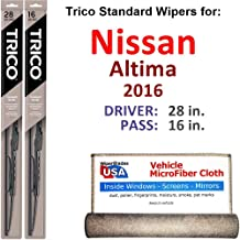 Wiper Blades for 2016 Nissan Altima Driver & Passenger Trico Steel Wipers Set of 2 Bundled with Bonus MicroFiber Interior Car Cloth
