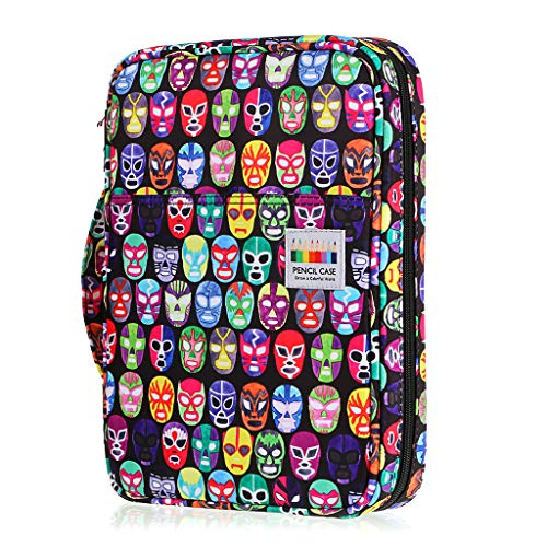 BTSKY Portable Colored Pencil Case - Colored Pencil Organizer Holds 166 Pencils or 112 Gel Pens Large Capacity Zippered Pencil Holder Gel pens (Mask)