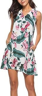 KYLEON Women Dresses Vintage Sleeveless Boho Leaf Print Dress Beach Short T Shirt Summer Tank Casual Swing Mini Sundress