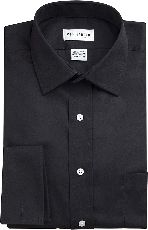Van Heusen Men's Regular Fit Wrinkle Free Broadcloth French Cuff Solid Dress Shirt