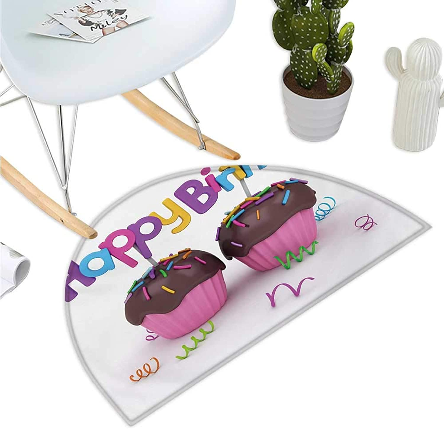Birthday Semicircular Cushion 3D Illustration of Chocolate Covered Cupcakes with Greetings Attached Celebration Entry Door Mat H 35.4  xD 53.1  Multicolor