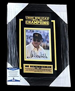 Bo Schembechler Autographed Signed Memorabilia Framed Matted Michigan Wolverines 6X8 Photo - Beckett Authentic