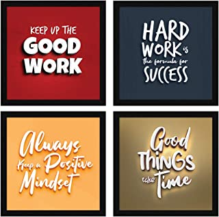 ArtX Paper Motivational Quotes Wall Art Framed Paintings 21 X 21 inches, 10.5 X 10.5 each, Multicolor, Set of 4