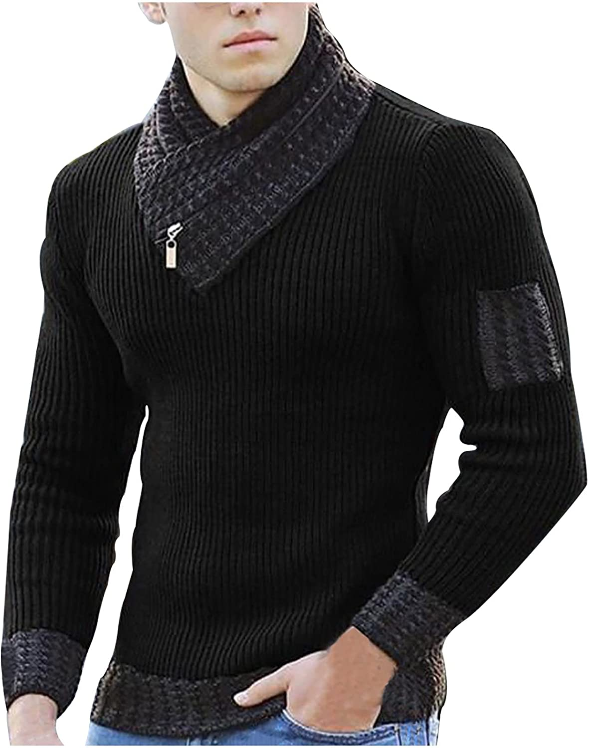 Men Scarf Neck Sweater Knitted Pullover Fashion Casual Long Sleeve Tops Slim Fit Soft Strench Stitching Sweater