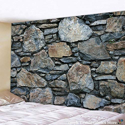AdoDecor Tapiz de Pared de Piedra de ladrillo Impreso Tapiz Colgante de Mandala Boho Tapiz decoración del hogar 150x130cm/59 * 51inch