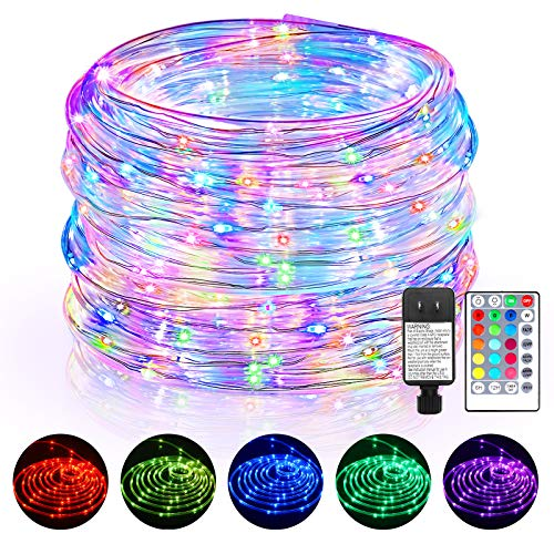 120FT Outdoor LED Rope Lights,16 Colors Solar String Lights with Remote Control , Decoration Terraces Gardens Roads, and Trees for Weddings Birthday Holiday Party Christmas