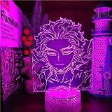 Lámpara de ilusión 3D Luz de noche LED My Hero Science Hawks Anime Night Sky Boku No Hero Science Lámpara visual para decoración del hogar Niño niña Regalo Cumpleaños Navidad