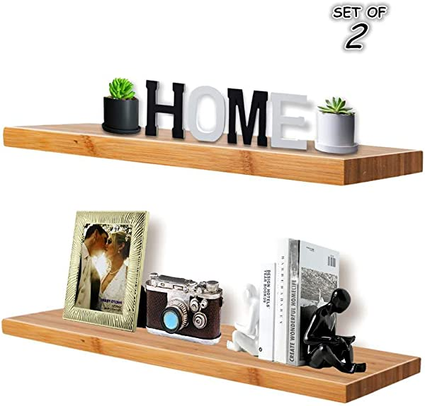 Floating Wall Shelves Natural Bamboo 24 Inch Corner Shelves Display Ledge Shelf Wall Mount Shelves Wall Mount Display Rack Home Decorative Space Saving Waterproof Include Mounting Brackets Set Of 2