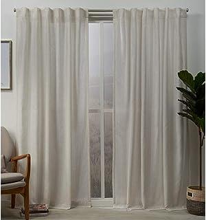 Exclusive Home Curtains EH8362-01 2-84H Muskoka Teardrop Slub Embellished Hidden Tab Top Curtain Panel Pair, 54x84, Natural