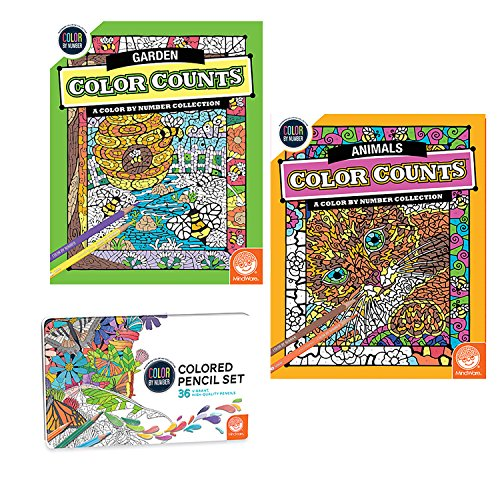 MindWare Color Counts Set of 2: Garden & Animals with Numbered Colored Pencils