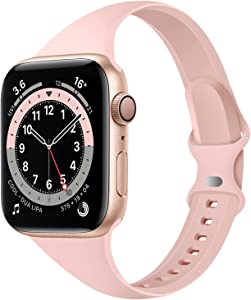 Acrbiutu Bands Compatible with Apple Watch 42mm 44mm, Slim Thin Narrow Replacement Silicone Sport Strap for iWatch SE Series 1/2/3/4/5/6, Pink Sand 42mm/44mm