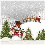 Papier Servietten Happy Holidays Santa Snowman With Hat Lunch Fest Party ca 33x33cm Herbst Winter Weihnachten - 2
