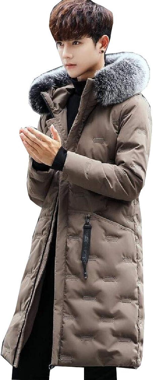 Jxfd Men's Warm Long Sleeve Faux Fur Collar Down Jacket Coat Outwear