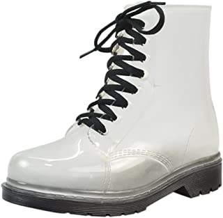 Women's Transparent Waterproof Rain Boots Lace-up Round Toe Martin Rain Shoes